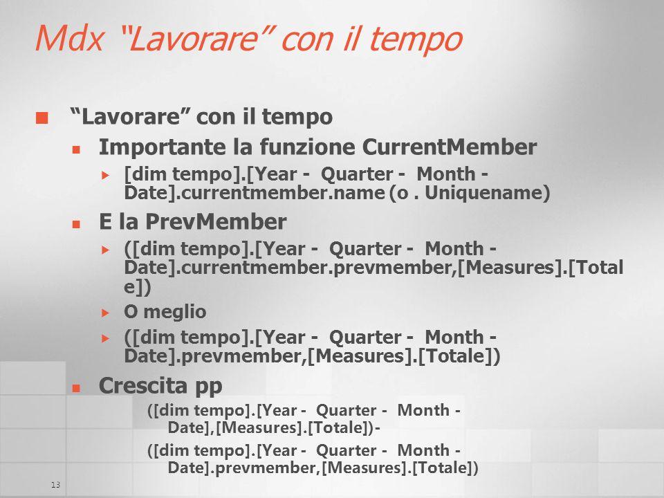13 Mdx Lavorare con il tempo Lavorare con il tempo Importante la funzione CurrentMember [dim tempo].[Year - Quarter - Month - Date].currentmember.name