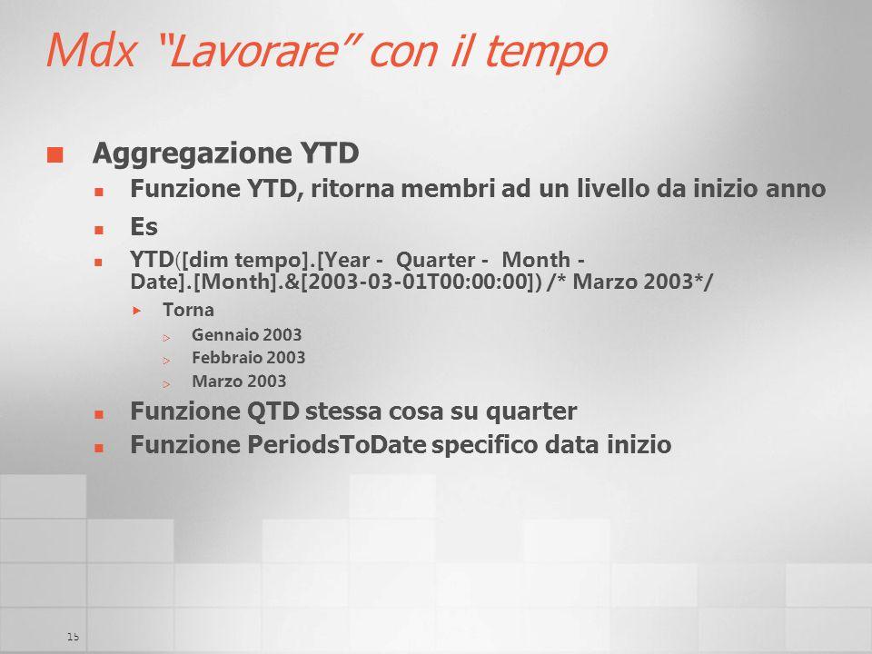 15 Mdx Lavorare con il tempo Aggregazione YTD Funzione YTD, ritorna membri ad un livello da inizio anno Es YTD ([dim tempo].[Year - Quarter - Month -