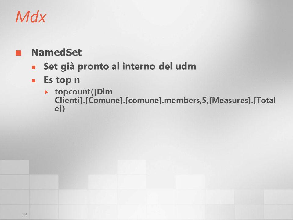 18 Mdx NamedSet Set già pronto al interno del udm Es top n topcount([Dim Clienti].[Comune].[comune].members,5,[Measures].[Total e])