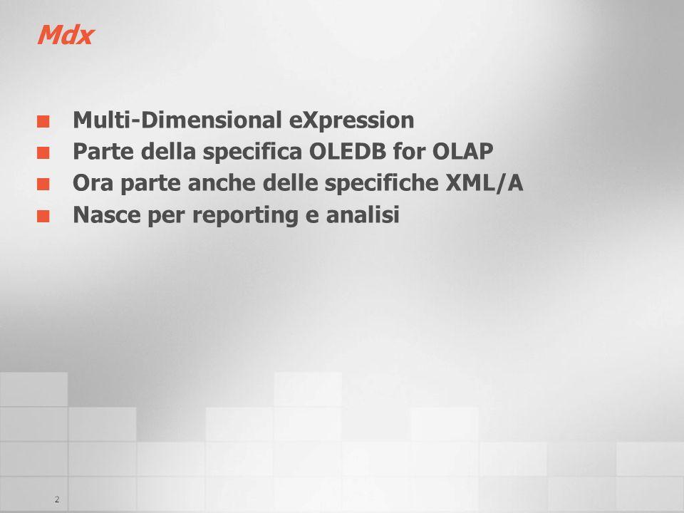 2 Mdx Multi-Dimensional eXpression Parte della specifica OLEDB for OLAP Ora parte anche delle specifiche XML/A Nasce per reporting e analisi