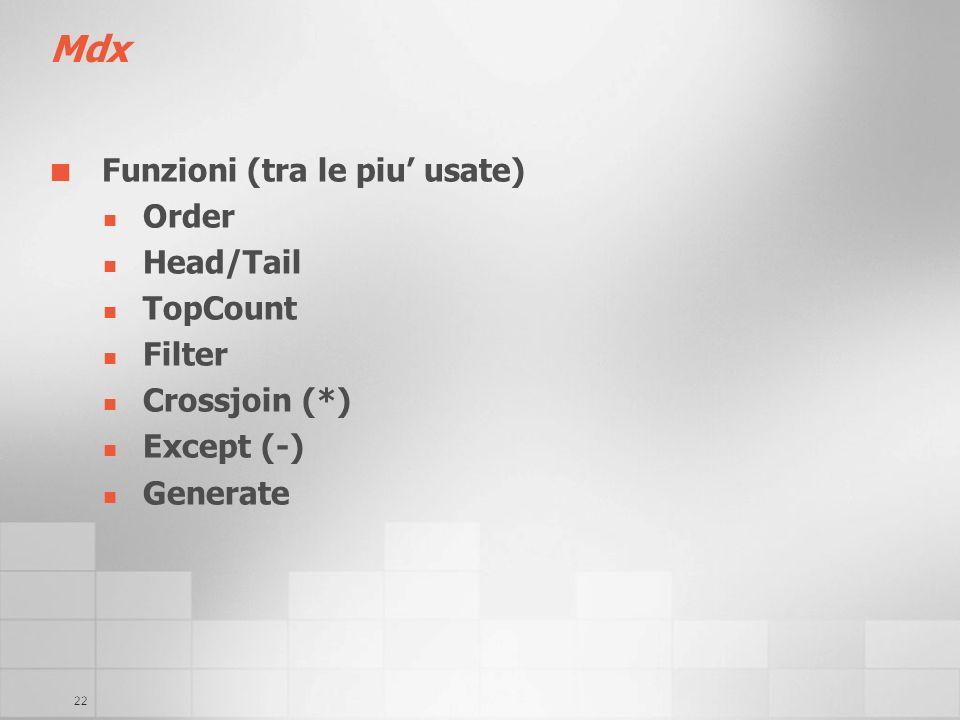 22 Mdx Funzioni (tra le piu usate) Order Head/Tail TopCount Filter Crossjoin (*) Except (-) Generate