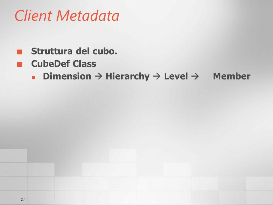 27 Client Metadata Struttura del cubo. CubeDef Class Dimension Hierarchy Level Member