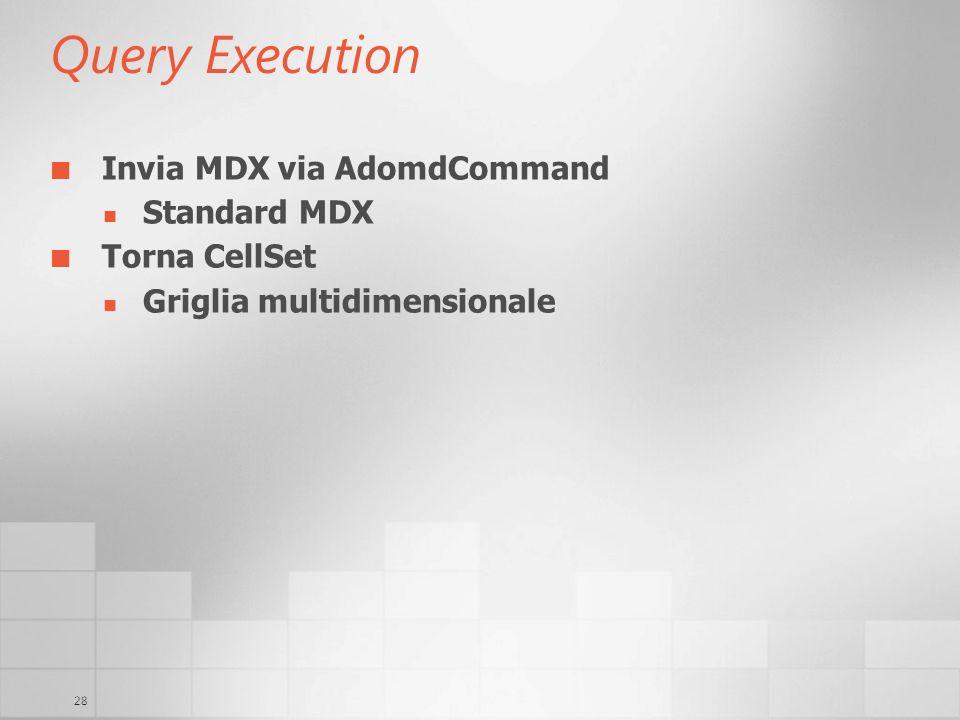 28 Query Execution Invia MDX via AdomdCommand Standard MDX Torna CellSet Griglia multidimensionale
