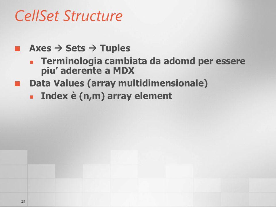 29 CellSet Structure Axes Sets Tuples Terminologia cambiata da adomd per essere piu aderente a MDX Data Values (array multidimensionale) Index è (n,m)