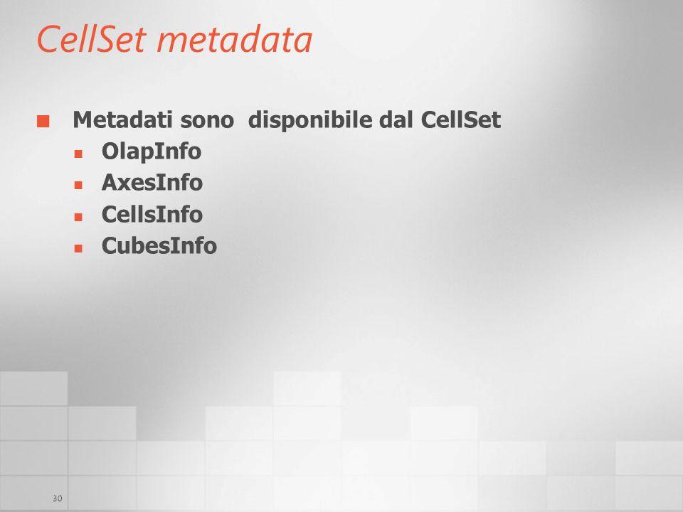 30 CellSet metadata Metadati sono disponibile dal CellSet OlapInfo AxesInfo CellsInfo CubesInfo