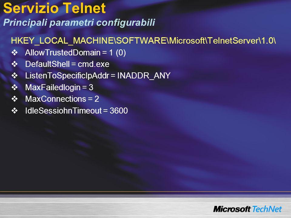 Principali tool CLI SchTasks.exe – nuovo tool per la programmazione delle attività Piena automazione della programmazione dei task Rimpiazza AT.exe che resta disponibile Shutdown.exe – per lo spegnimento dei sistemi indicando la ragione (reboot reason collector) scritto nei log il motivo dello spegnimento SC.exe – tool per il controllo dei servizi: Gestione, arresto/riavvio, diagnostica di tutti i servizi Win32 ® Prn*.vbs – 6 tool per la gestione delle stampanti (script WMI) NetDom.exe – aggiunte le funzioni di get/set del nome macchina.