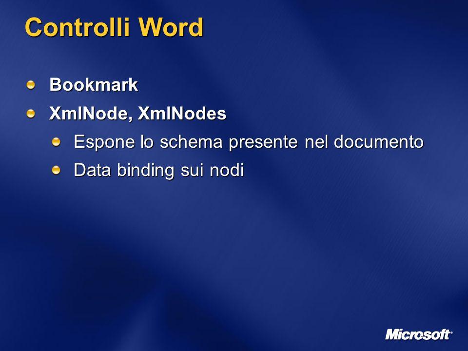 Controlli Word Bookmark XmlNode, XmlNodes Espone lo schema presente nel documento Data binding sui nodi