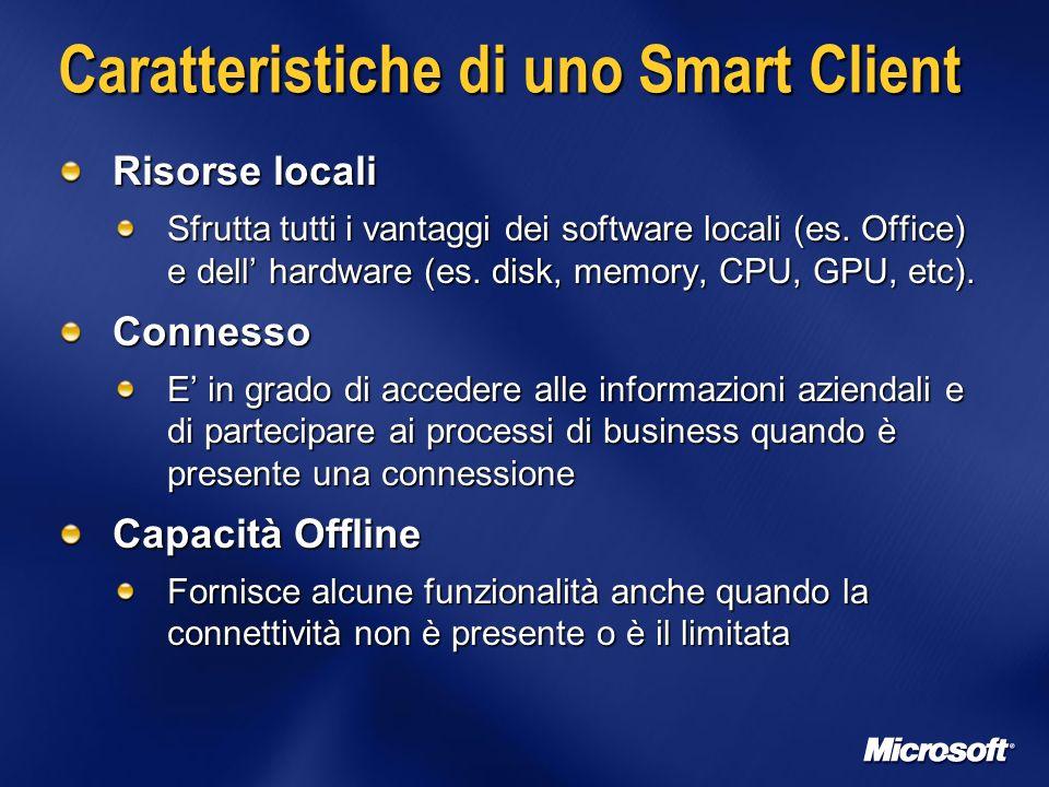 Caratteristiche di uno Smart Client Risorse locali Sfrutta tutti i vantaggi dei software locali (es.