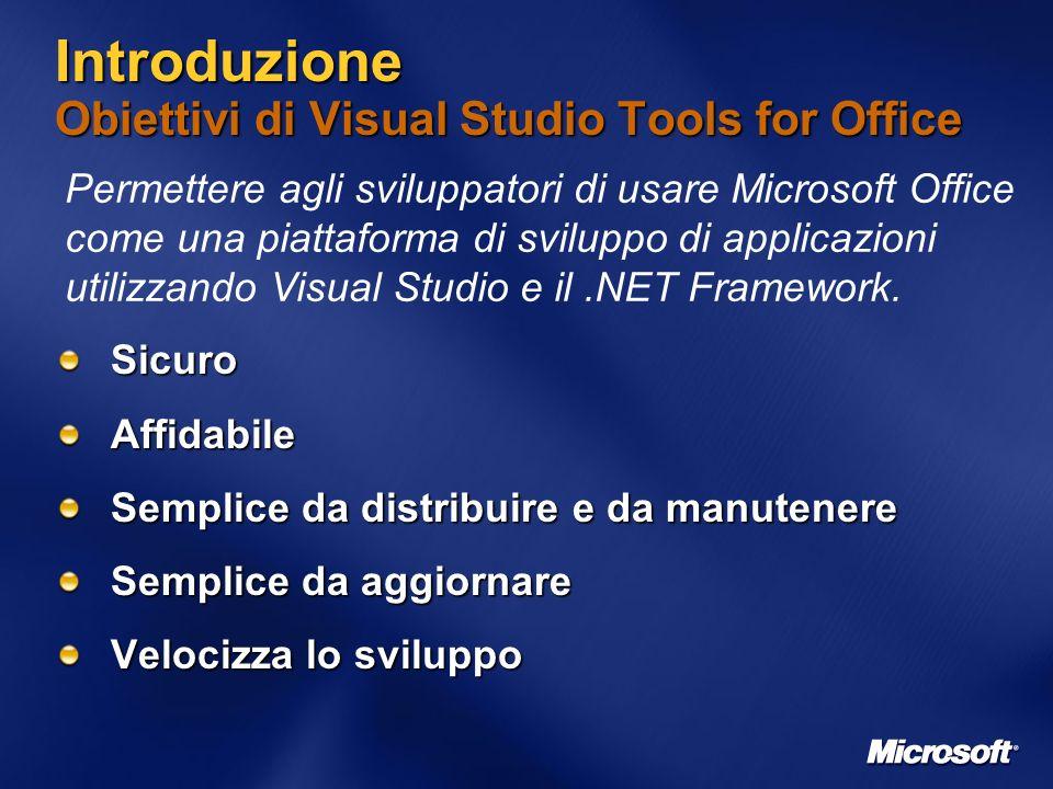 Introduzione Obiettivi di Visual Studio Tools for Office SicuroAffidabile Semplice da distribuire e da manutenere Semplice da aggiornare Velocizza lo sviluppo Permettere agli sviluppatori di usare Microsoft Office come una piattaforma di sviluppo di applicazioni utilizzando Visual Studio e il.NET Framework.