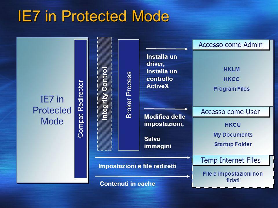IE7 in Protected Mode IE7 in Protected Mode IE7 in Protected Mode Installa un driver, Installa un controllo ActiveX Modifica delle impostazioni, Salva