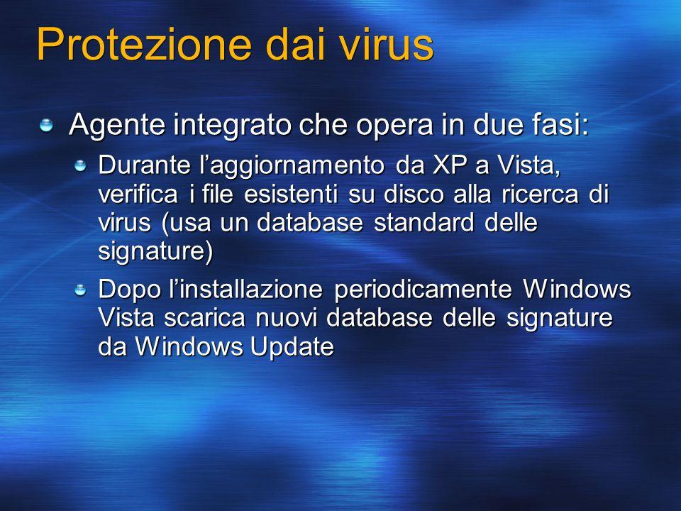 Protezione dai virus Agente integrato che opera in due fasi: Durante laggiornamento da XP a Vista, verifica i file esistenti su disco alla ricerca di