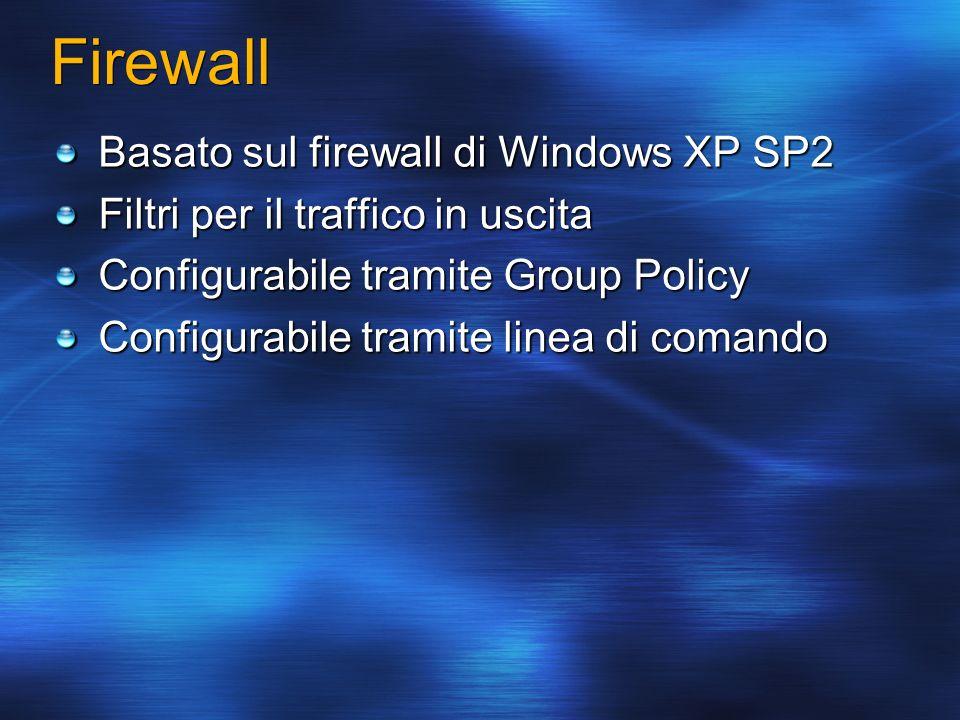 Firewall Basato sul firewall di Windows XP SP2 Filtri per il traffico in uscita Configurabile tramite Group Policy Configurabile tramite linea di coma