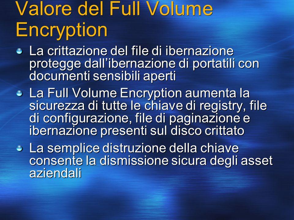 Valore del Full Volume Encryption La crittazione del file di ibernazione protegge dallibernazione di portatili con documenti sensibili aperti La Full