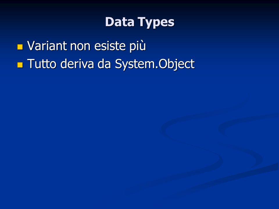 Data Types Variant non esiste più Variant non esiste più Tutto deriva da System.Object Tutto deriva da System.Object
