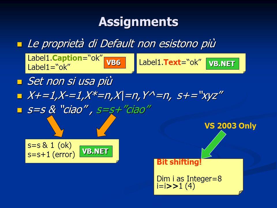 Assignments Le proprietà di Default non esistono più Le proprietà di Default non esistono più Set non si usa più Set non si usa più X+=1,X-=1,X*=n,X\=