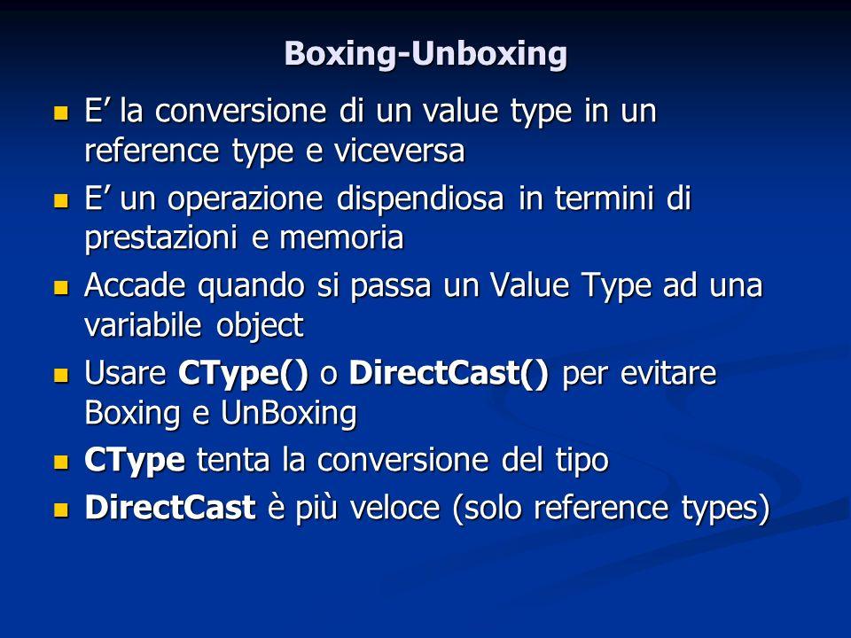 Boxing-Unboxing E la conversione di un value type in un reference type e viceversa E la conversione di un value type in un reference type e viceversa