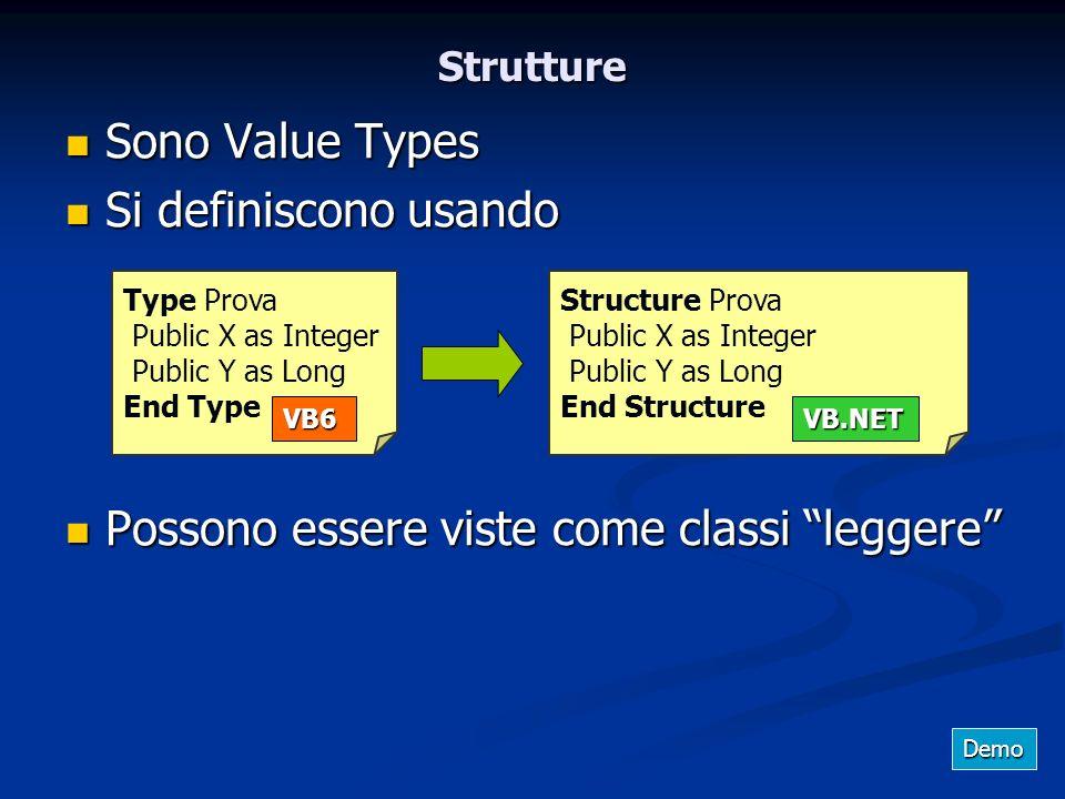 Strutture Sono Value Types Sono Value Types Si definiscono usando Si definiscono usando Possono essere viste come classi leggere Possono essere viste
