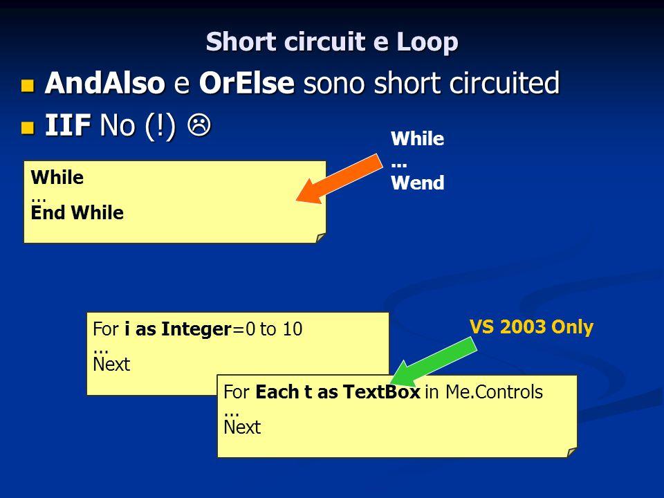 Short circuit e Loop AndAlso e OrElse sono short circuited AndAlso e OrElse sono short circuited IIF No (!) IIF No (!) For i as Integer=0 to 10... Nex