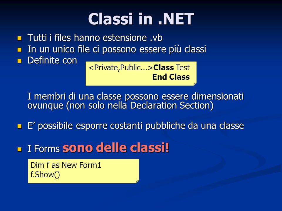 Classi in.NET Tutti i files hanno estensione.vb Tutti i files hanno estensione.vb In un unico file ci possono essere più classi In un unico file ci po