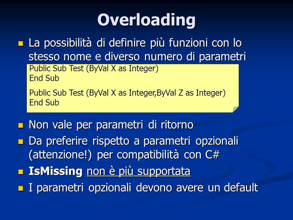 Overloading La possibilità di definire più funzioni con lo stesso nome e diverso numero di parametri La possibilità di definire più funzioni con lo st