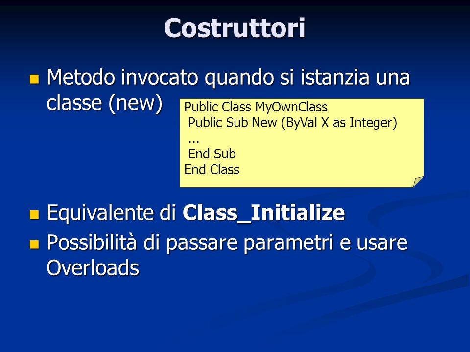 Costruttori Metodo invocato quando si istanzia una classe (new) Metodo invocato quando si istanzia una classe (new) Equivalente di Class_Initialize Eq