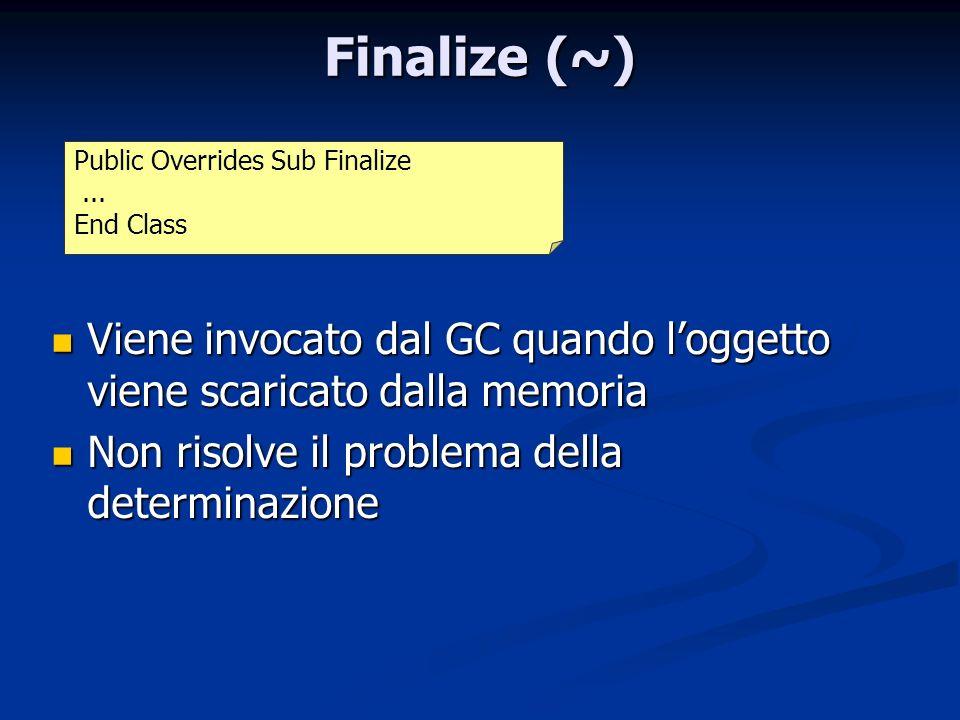 Finalize (~) Viene invocato dal GC quando loggetto viene scaricato dalla memoria Viene invocato dal GC quando loggetto viene scaricato dalla memoria N