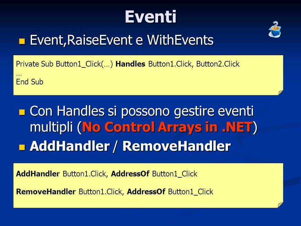 Eventi Event,RaiseEvent e WithEvents Event,RaiseEvent e WithEvents Con Handles si possono gestire eventi multipli (No Control Arrays in.NET) Con Handl