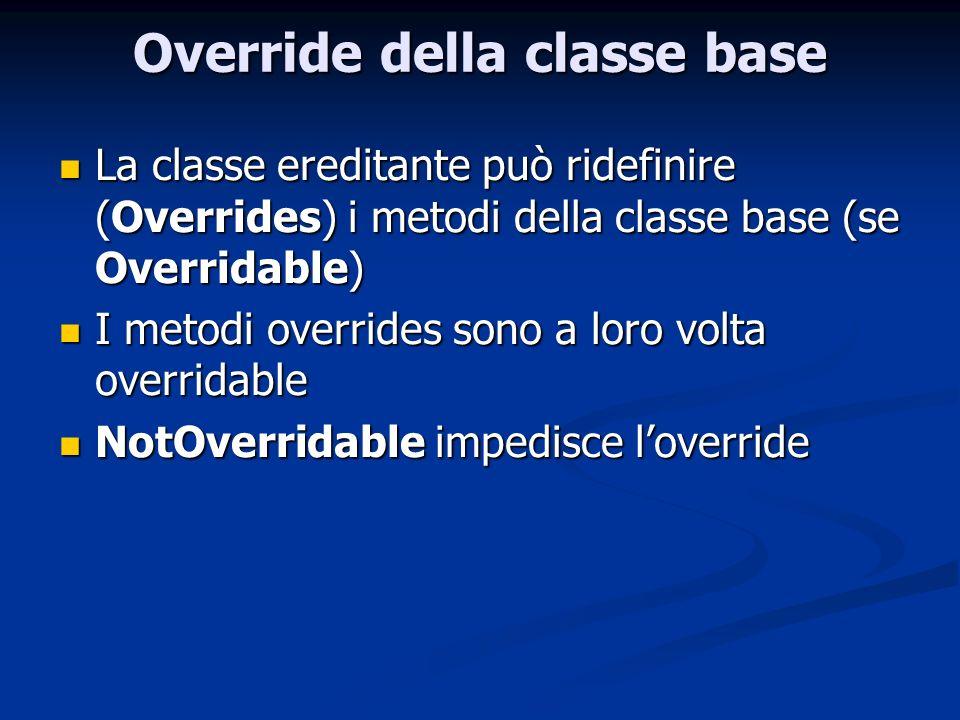 Override della classe base La classe ereditante può ridefinire (Overrides) i metodi della classe base (se Overridable) La classe ereditante può ridefi