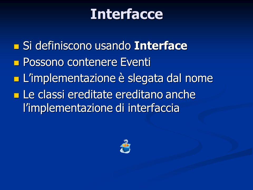 Interfacce Si definiscono usando Interface Si definiscono usando Interface Possono contenere Eventi Possono contenere Eventi Limplementazione è slegat