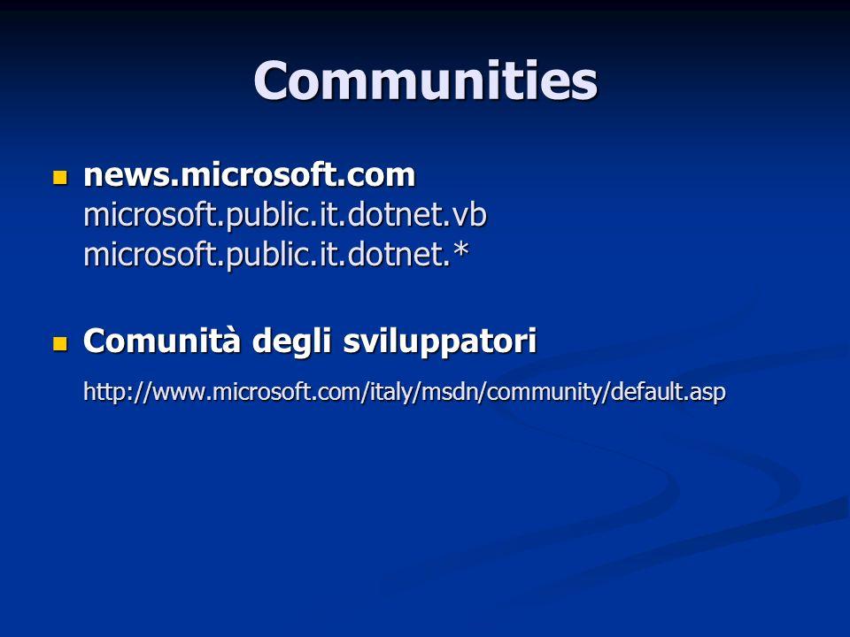 Communities news.microsoft.com microsoft.public.it.dotnet.vb microsoft.public.it.dotnet.* news.microsoft.com microsoft.public.it.dotnet.vb microsoft.p