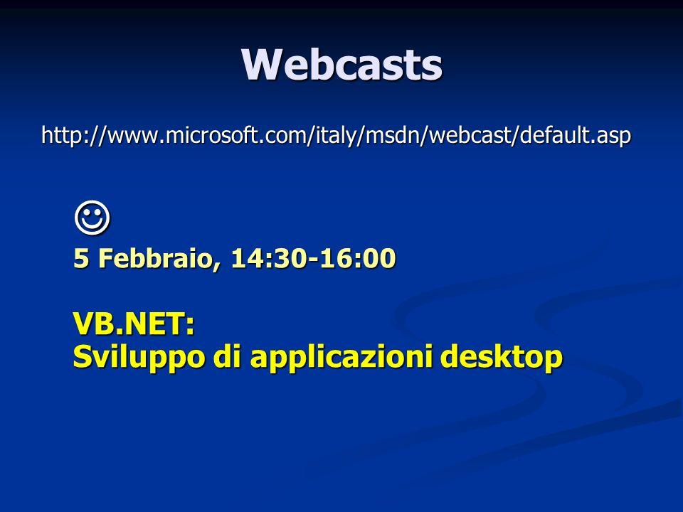 Webcasts http://www.microsoft.com/italy/msdn/webcast/default.asp 5 Febbraio, 14:30-16:00 5 Febbraio, 14:30-16:00 VB.NET: Sviluppo di applicazioni desk