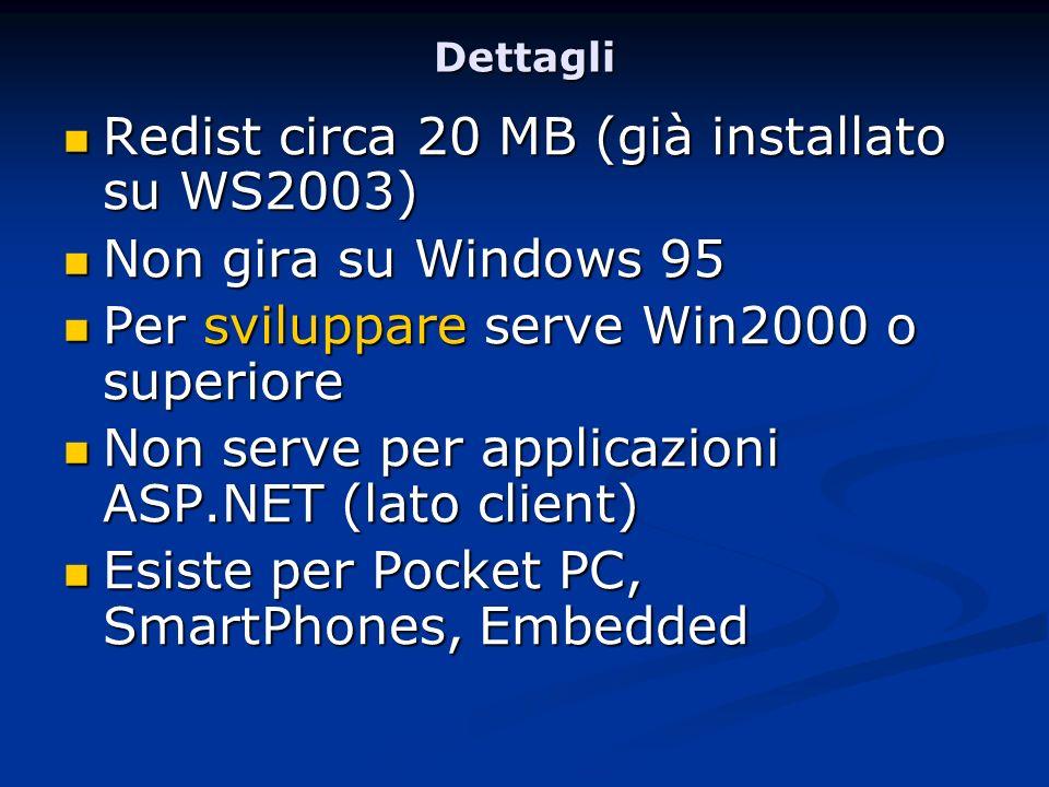 Dettagli Redist circa 20 MB (già installato su WS2003) Redist circa 20 MB (già installato su WS2003) Non gira su Windows 95 Non gira su Windows 95 Per