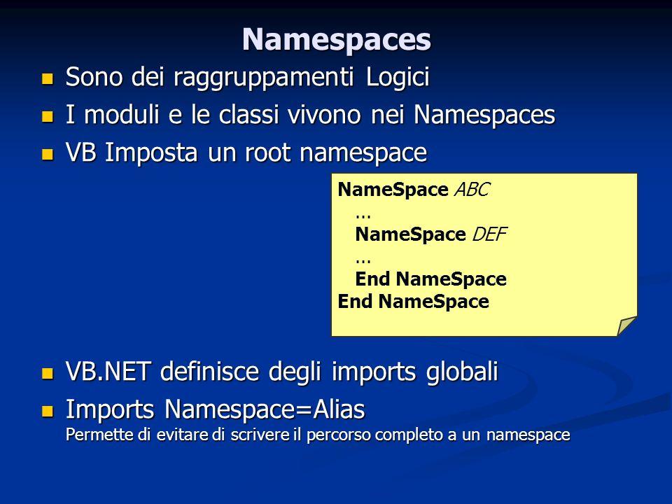 Namespaces Sono dei raggruppamenti Logici Sono dei raggruppamenti Logici I moduli e le classi vivono nei Namespaces I moduli e le classi vivono nei Na
