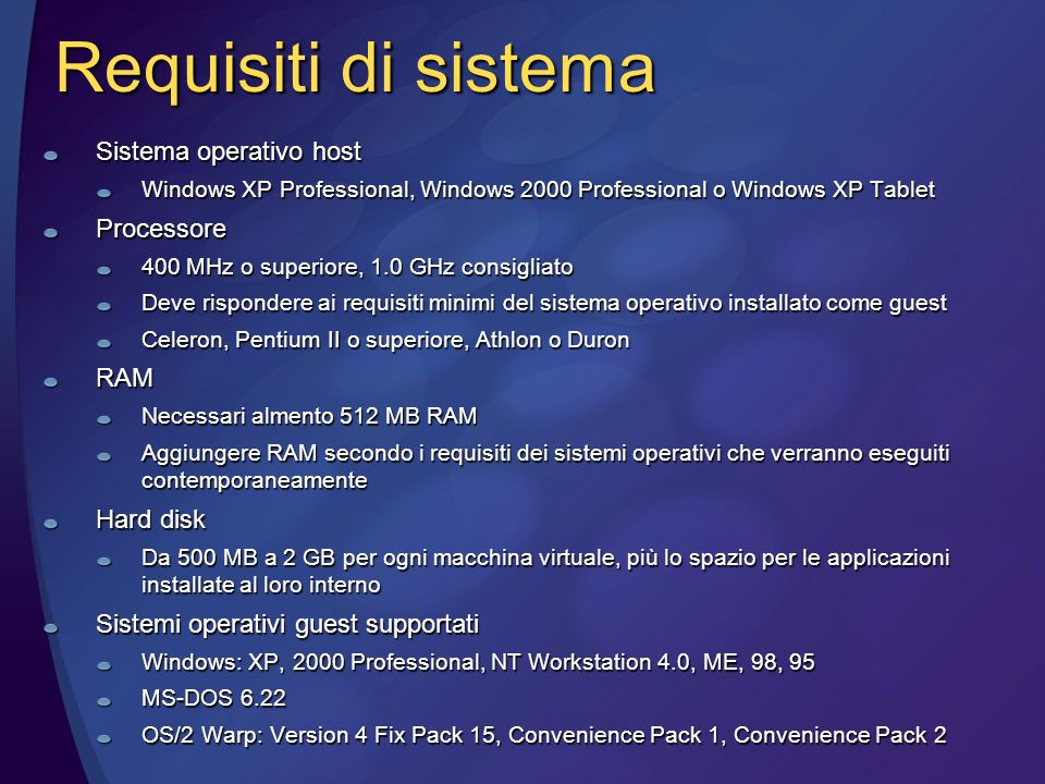Requisiti di sistema Sistema operativo host Windows XP Professional, Windows 2000 Professional o Windows XP Tablet Processore 400 MHz o superiore, 1.0