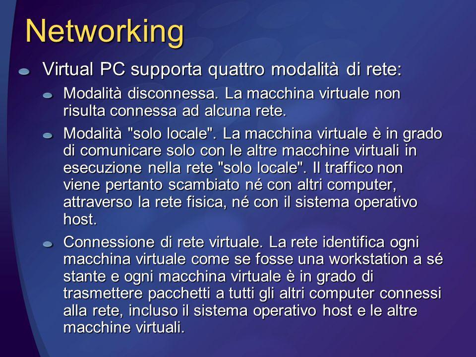 Networking Virtual PC supporta quattro modalità di rete: Modalità disconnessa.