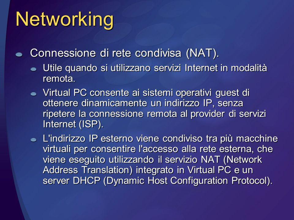 Networking Connessione di rete condivisa (NAT).
