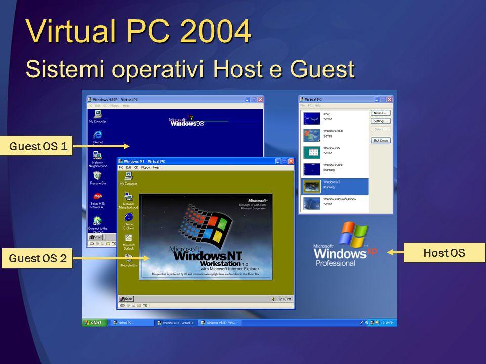 Host OS Guest OS 1 Guest OS 2 Virtual PC 2004 Sistemi operativi Host e Guest