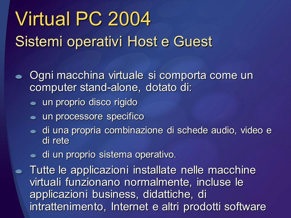 Ogni macchina virtuale si comporta come un computer stand-alone, dotato di: un proprio disco rigido un processore specifico di una propria combinazione di schede audio, video e di rete di un proprio sistema operativo.