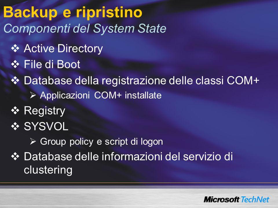 Backup e ripristino Componenti del System State Active Directory File di Boot Database della registrazione delle classi COM+ Applicazioni COM+ installate Registry SYSVOL Group policy e script di logon Database delle informazioni del servizio di clustering