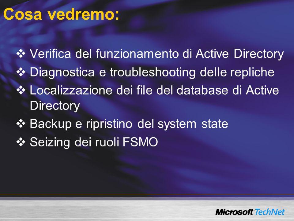 Cosa vedremo: Verifica del funzionamento di Active Directory Diagnostica e troubleshooting delle repliche Localizzazione dei file del database di Active Directory Backup e ripristino del system state Seizing dei ruoli FSMO