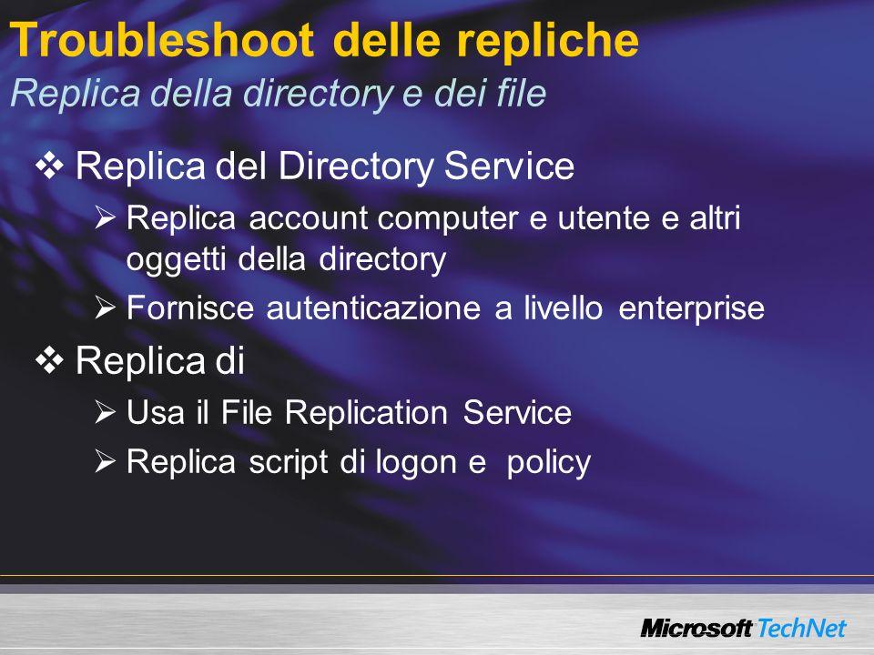 Troubleshoot delle repliche Replica tra Domain Controller Domain Controller Domain Controller