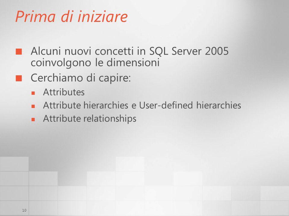 10 Prima di iniziare Alcuni nuovi concetti in SQL Server 2005 coinvolgono le dimensioni Cerchiamo di capire: Attributes Attribute hierarchies e User-d