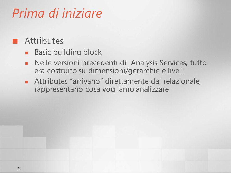 11 Prima di iniziare Attributes Basic building block Nelle versioni precedenti di Analysis Services, tutto era costruito su dimensioni/gerarchie e liv