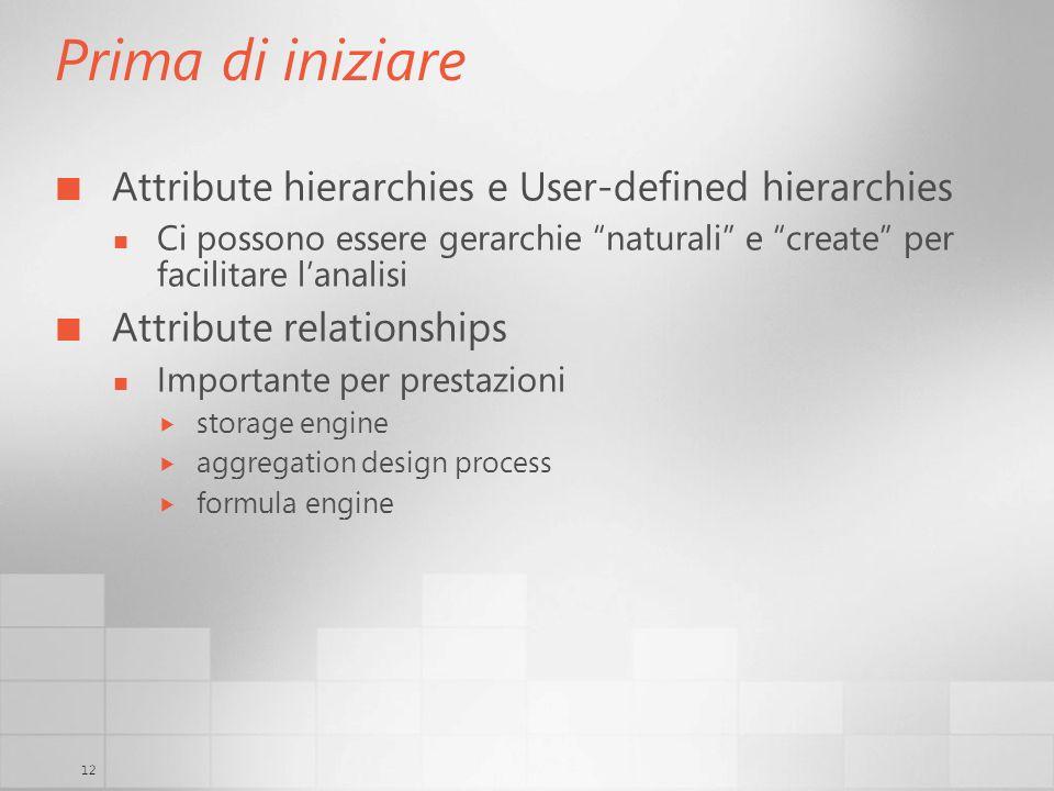 12 Prima di iniziare Attribute hierarchies e User-defined hierarchies Ci possono essere gerarchie naturali e create per facilitare lanalisi Attribute