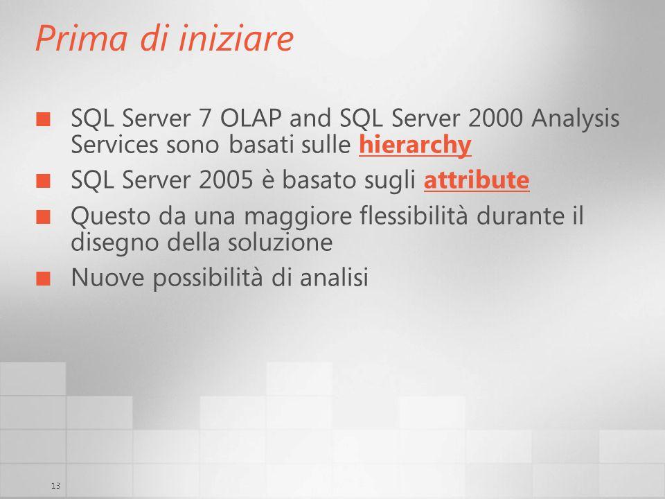 13 Prima di iniziare SQL Server 7 OLAP and SQL Server 2000 Analysis Services sono basati sulle hierarchy SQL Server 2005 è basato sugli attribute Ques