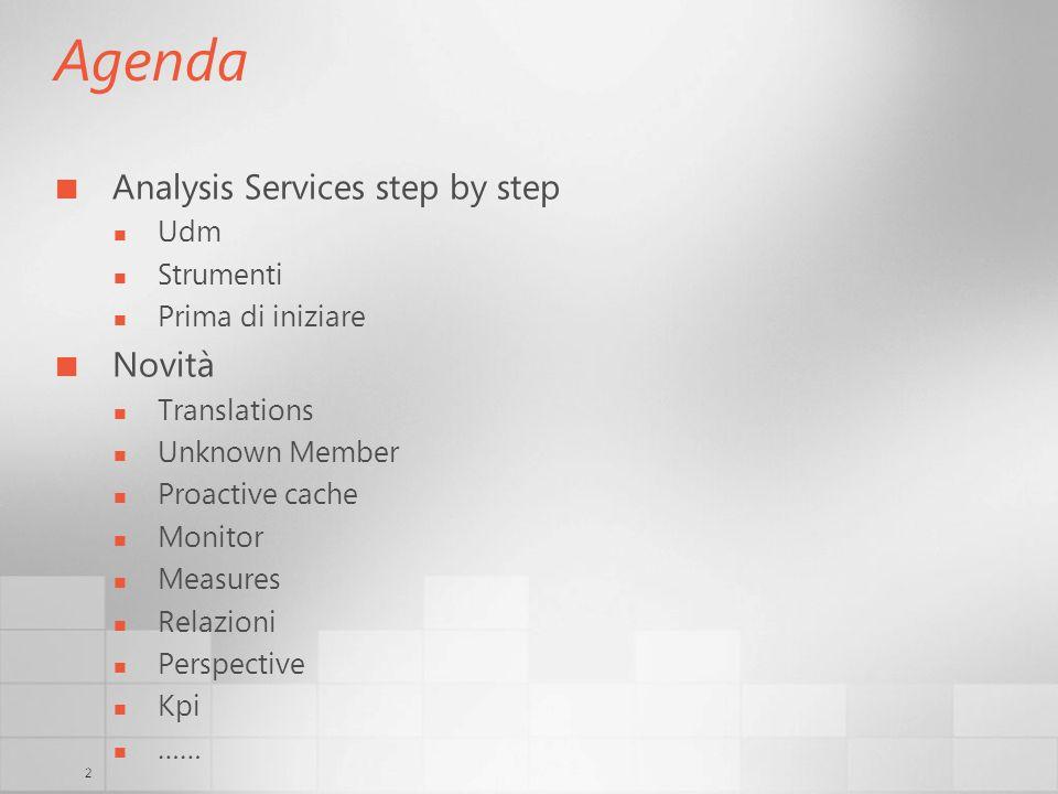 2 Agenda Analysis Services step by step Udm Strumenti Prima di iniziare Novità Translations Unknown Member Proactive cache Monitor Measures Relazioni