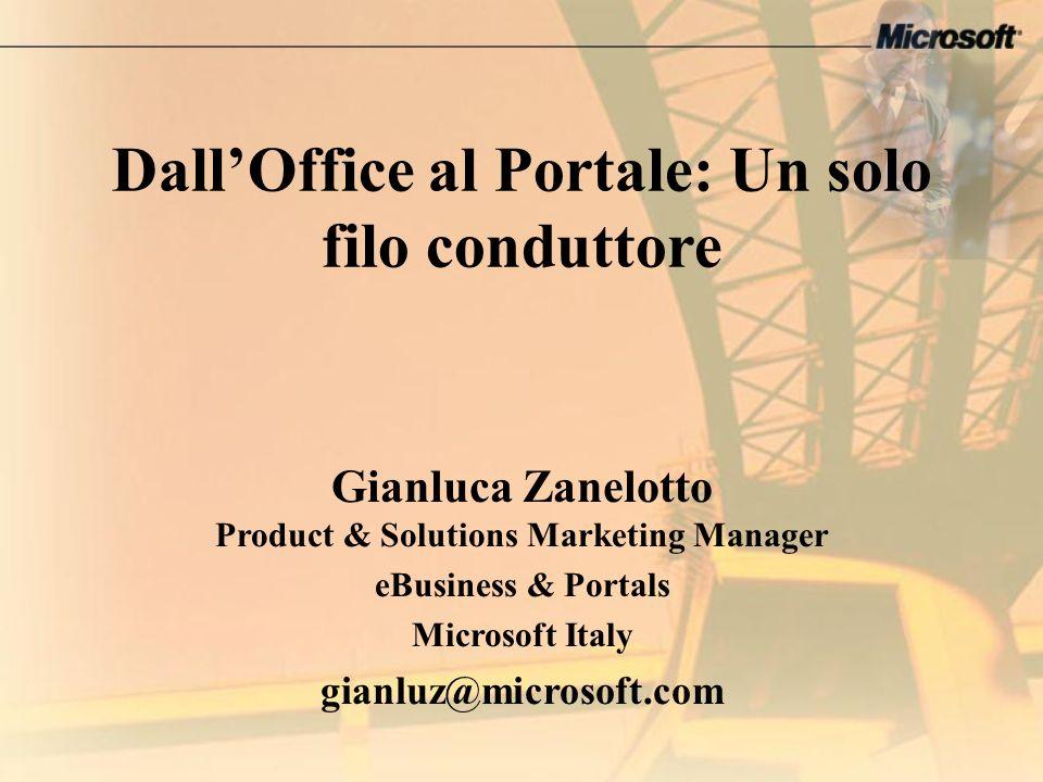 DallOffice al Portale: Un solo filo conduttore Gianluca Zanelotto Product & Solutions Marketing Manager eBusiness & Portals Microsoft Italy gianluz@mi