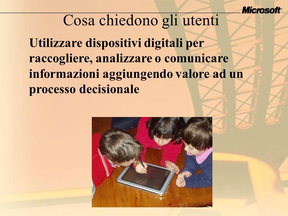 Utilizzare dispositivi digitali per raccogliere, analizzare o comunicare informazioni aggiungendo valore ad un processo decisionale Cosa chiedono gli