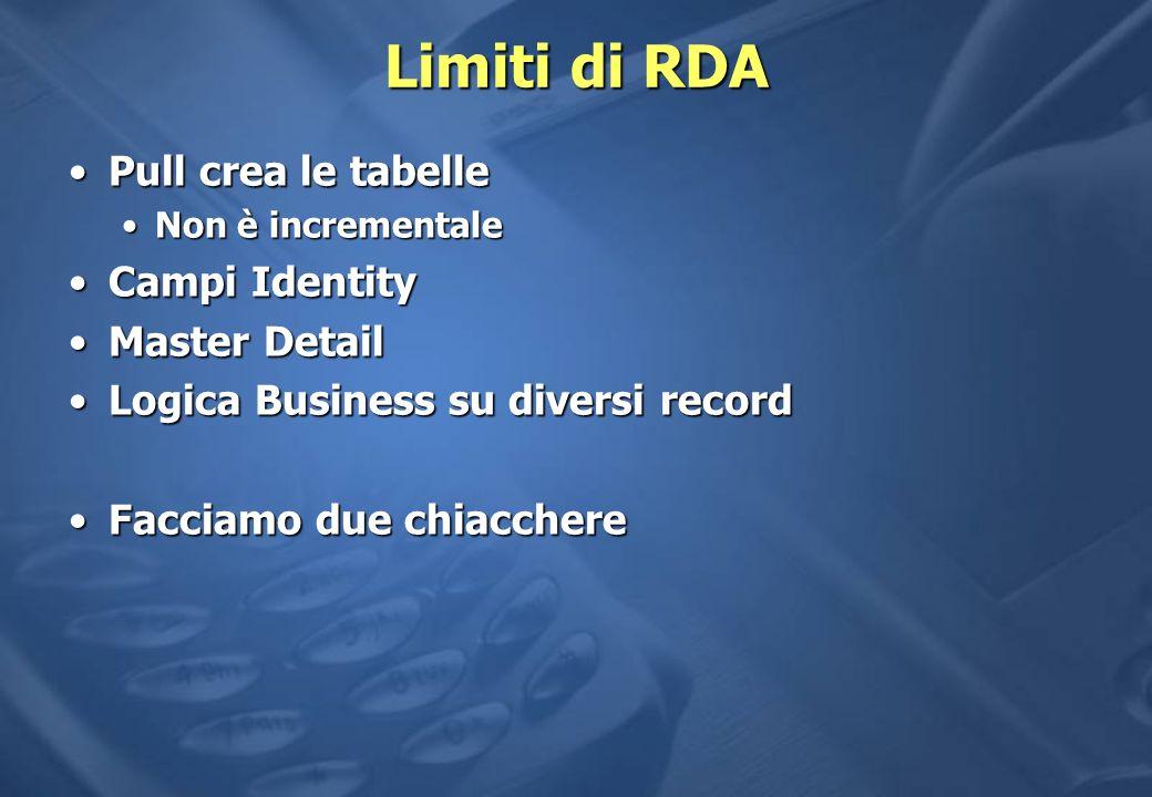 Limiti di RDA Pull crea le tabellePull crea le tabelle Non è incrementaleNon è incrementale Campi IdentityCampi Identity Master DetailMaster Detail Logica Business su diversi recordLogica Business su diversi record Facciamo due chiacchereFacciamo due chiacchere