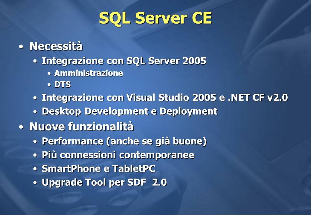 SQL Server CE NecessitàNecessità Integrazione con SQL Server 2005Integrazione con SQL Server 2005 AmministrazioneAmministrazione DTSDTS Integrazione con Visual Studio 2005 e.NET CF v2.0Integrazione con Visual Studio 2005 e.NET CF v2.0 Desktop Development e DeploymentDesktop Development e Deployment Nuove funzionalitàNuove funzionalità Performance (anche se già buone)Performance (anche se già buone) Più connessioni contemporaneePiù connessioni contemporanee SmartPhone e TabletPCSmartPhone e TabletPC Upgrade Tool per SDF 2.0Upgrade Tool per SDF 2.0